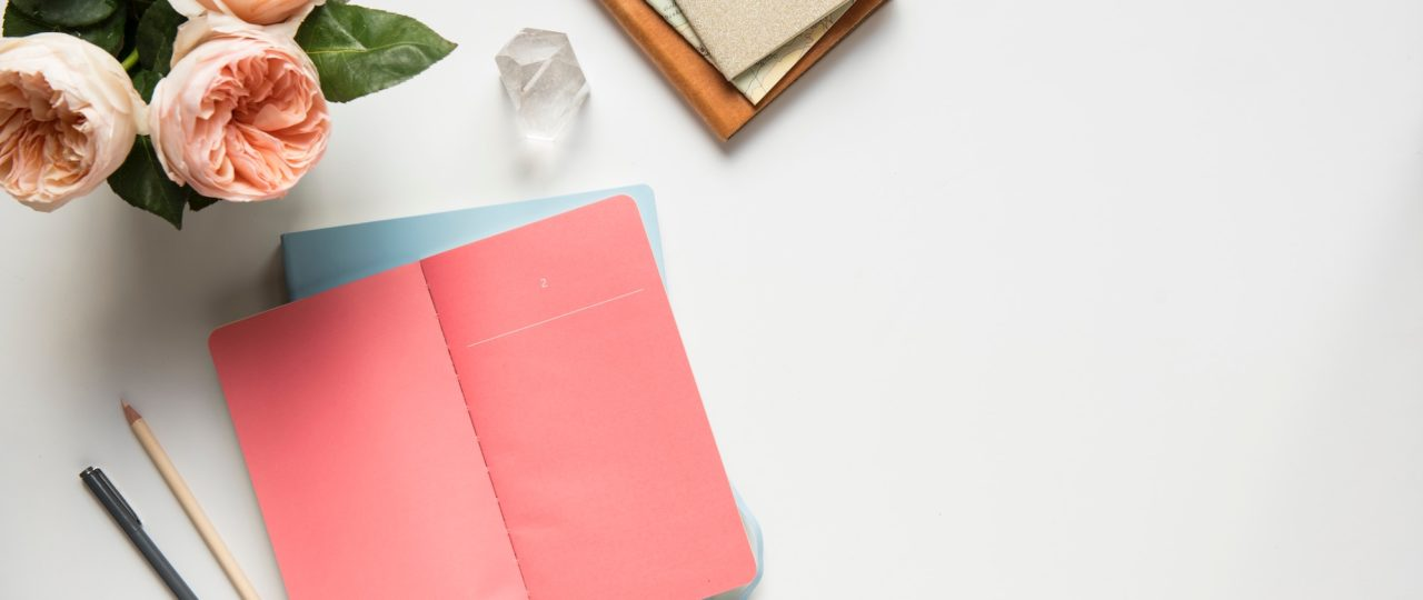 pink yearly review notebook
